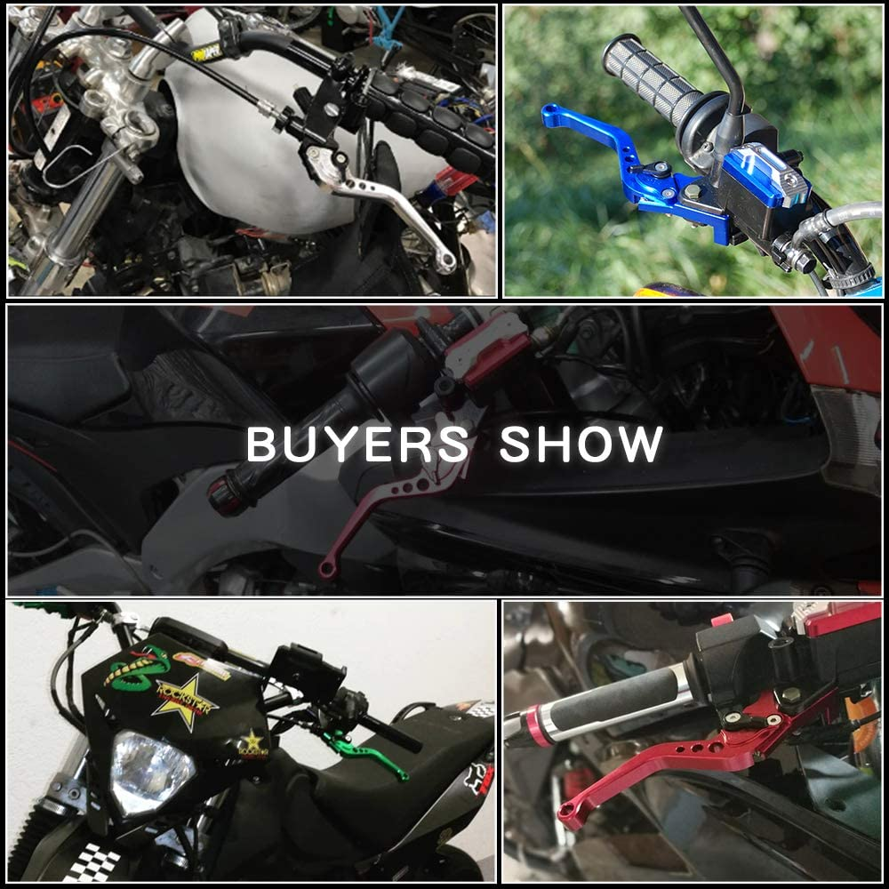 Sporacingrts 2PC 7//8 22MM Clutch Brake Levers Master Cylinder Reservoir Set for Suzuki Motorcycle 125-600CC