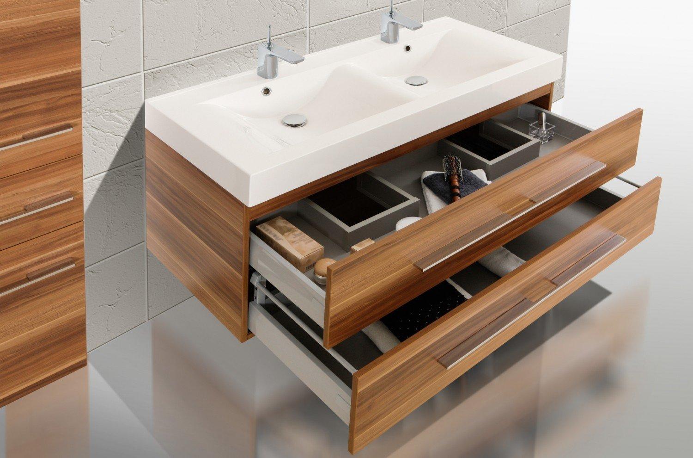 Design Badezimmermöbel Set mit Waschbecken und Doppelwaschtisch ...