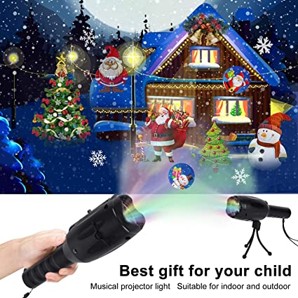 Musical Christmas Lights.Outgeek Musical Christmas Led Projector Light Kid S Handheld Projector Lights Decorative Party 2 In 1 Rechargeable Flashlight With Tripod 12 Slides