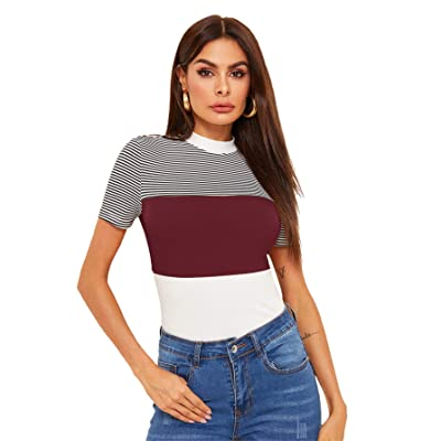 WDIRARA Women's Casual Short Sleeve Mock Neck Colorblock Striped Top at Women's Clothing store