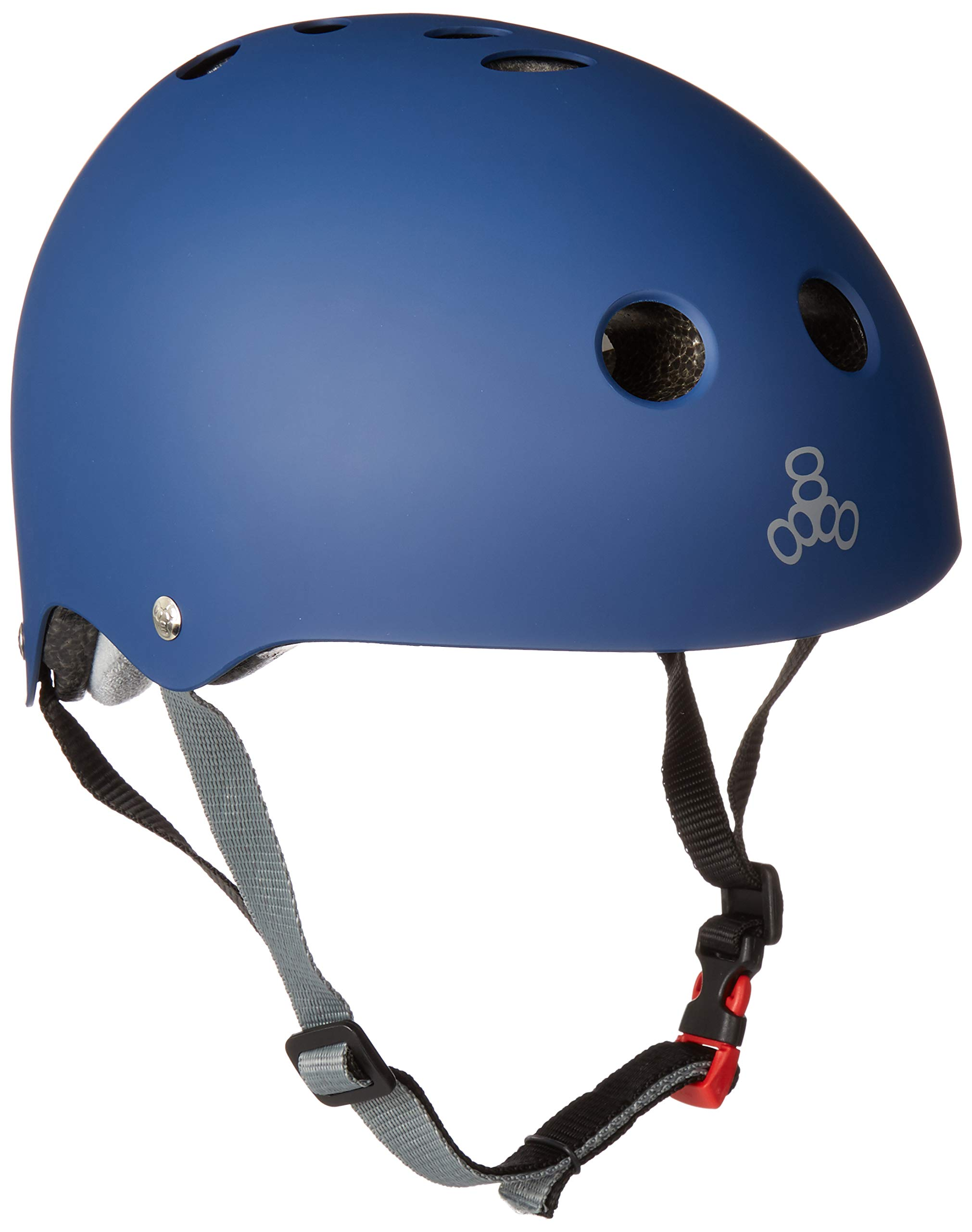 Triple Eight THE Certified Sweatsaver Helmet for Skateboarding, BMX, and Roller Skating, Navy Rubber, Small / Medium