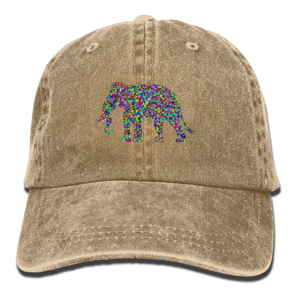 Funny Elephant Plain Adjustable Cowboy Cap Denim Hat for Women and Men