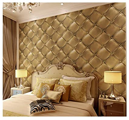 7buy 21 Inch By 394 Inch Faux Leather 3d Pattern Pvc Waterproof Wallpaper Wall Decor Wall Murals For Restaurant Kitchen Light Golden