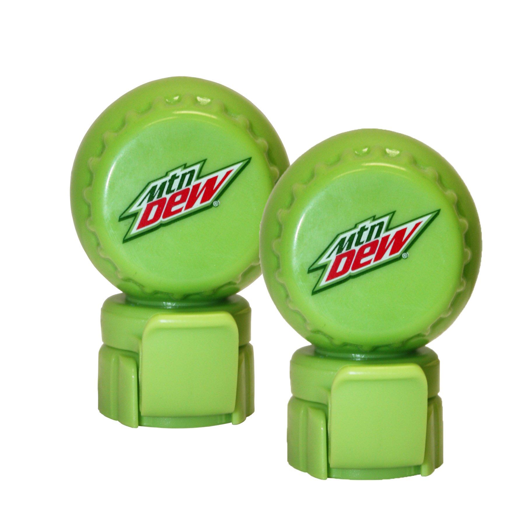 Jokari 2 Count Mtn Dew Modern Logo Fizz Keeper Soda Bottle Pump and Pour Caps, Green