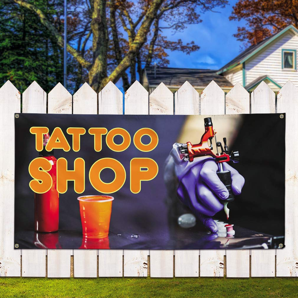 Vinyl Banner Sign Tattoo Shop #1 Style B Business Outdoor Marketing Advertising Black 8 Grommets 48inx96in One Banner Multiple Sizes Available