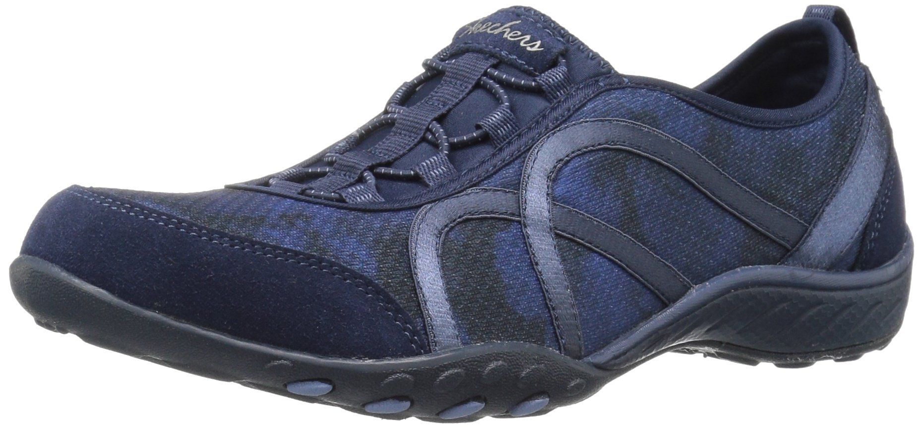 Skechers Sport Women's Breathe Easy Artful Fashion Sneaker, Navy Mesh/Suede, 8 M US