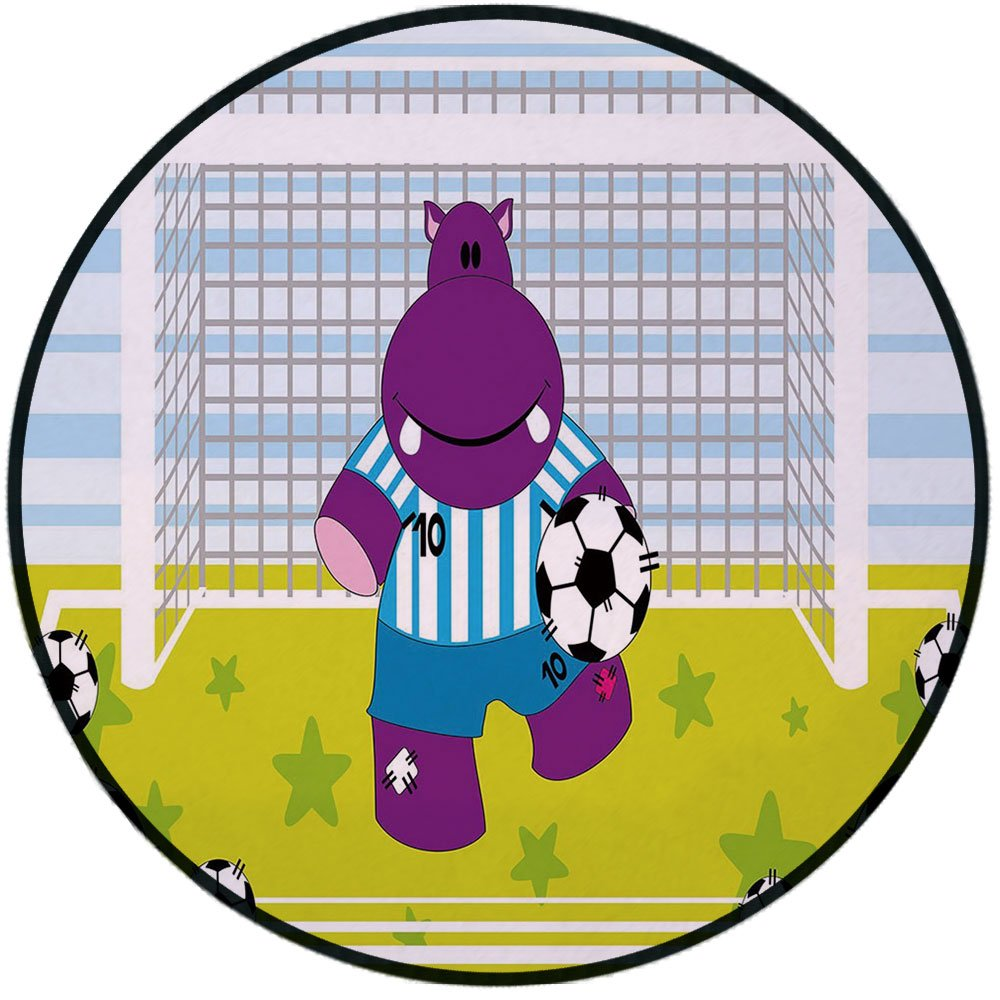Printing Round Rug,Sports Decor,Cute Hippopotamus Soccer Goal Keeper Football Cartoon Print Mat Non-Slip Soft Entrance Mat Door Floor Rug Area Rug For Chair Living Room,Apple Green Baby Blue Purple