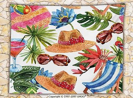 Beach Themed Throw Blanket Mesmerizing Amazon Watercolor Decor Fleece Throw Blanket Tropic Summer