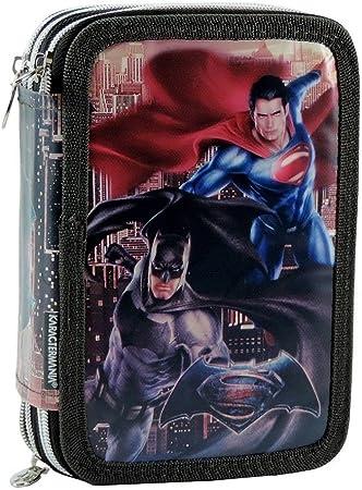Estuche Escolar 3 cremallera Batman vs Superman – Porta lápices Pieno completo 42 piezas Super Héroes: Amazon.es: Equipaje