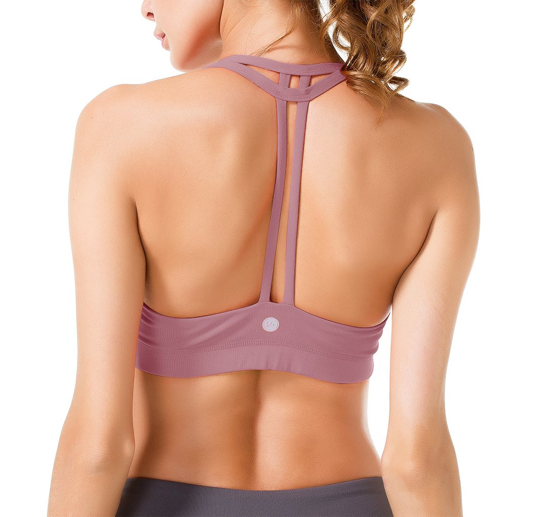 Queenie Ke Women's Light Support Cross Back Wirefree Pad Yoga Sports Bra Size S Color Begonia Pink