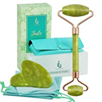 Jade Roller and Gua Sha: Jade Face Rollers Skin Care with Refrigerator Box to Use It Cold, Travel Case for Easy Storage