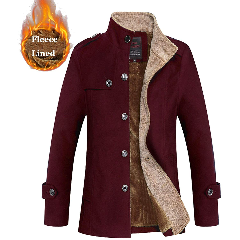 Wine Red Flygo Men's Winter Warm Single Breasted Sherpa Lined Wool Blend Coat Jacket