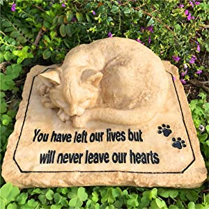 JSYS Cat Memorial Stones with A Sleeping Cat on The Top, Pet Memorial Stones Grave Markers for Cat, Sympathy Cat Memorial Gifts Outdoor for Garden, Backyard Patio or Lawn,8.5