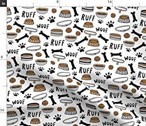 Spoonflower Fabric - Cute Dog White Bone Food Bowl Pet Illustration Dogs Puppy Paw Print Printed on Petal Signature Cotton Fabric by The Yard - Sewing Quilting Apparel Crafts Decor
