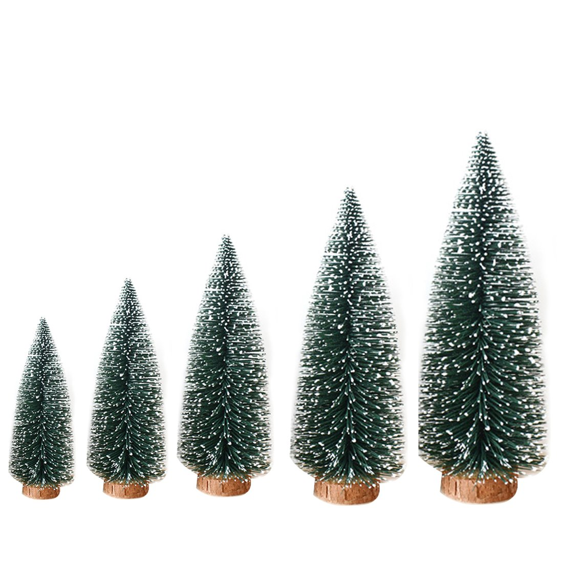 1pcs Artificial Tabletop Mini Pine Christmas Trees Decorations Festival Miniature Xmas Tree with Wood Look Base 5 Size