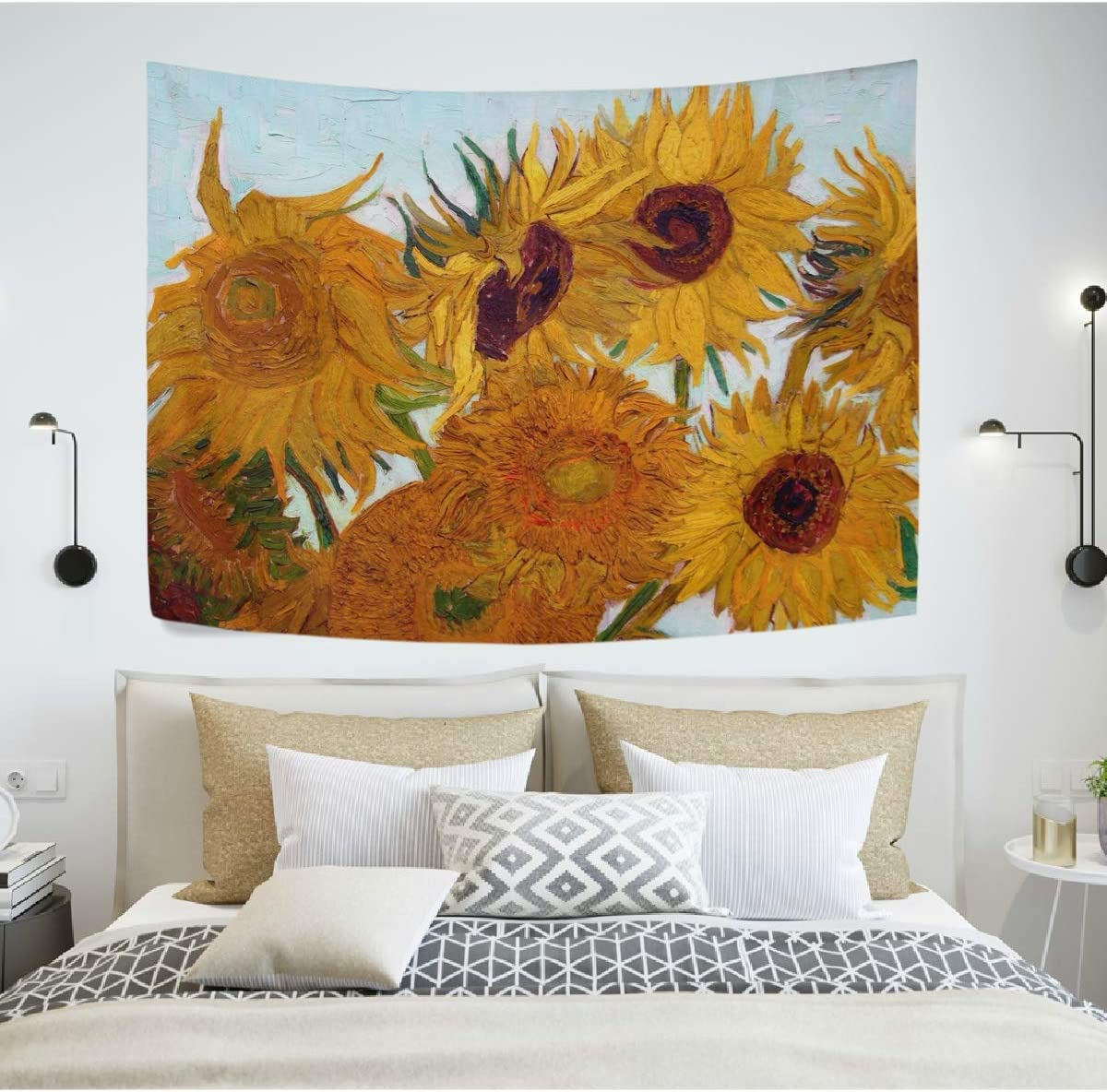WIHVE Van Gogh Tapestry Sunflowers Wall Tapestry Floral Flowers Tapestry Wall Hanging Art Home Decor for Bedroom Living Room Apartment Dorm 60 x 51 Inches