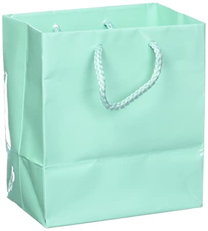 ad40e919768 10 pcs Small Fancy Robin's Egg Blue Glossy Finish Shopping Paper Gift Sales  Tote Bags with