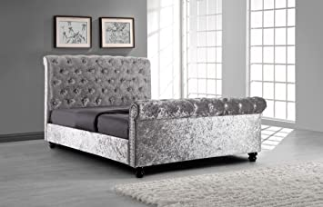 Silver Crushed Velvet Upholstered Sleigh Bed Frame With Diamond