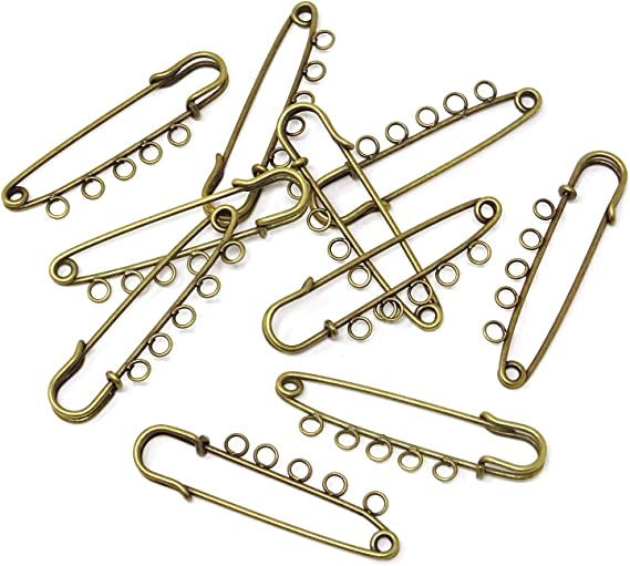 Crafts Kilts Skirts Knitted Fabric Honbay 10PCS 5.7cm//2.24inch Heavy Duty Safety Pins Brooch with 3 Holes for Blankets