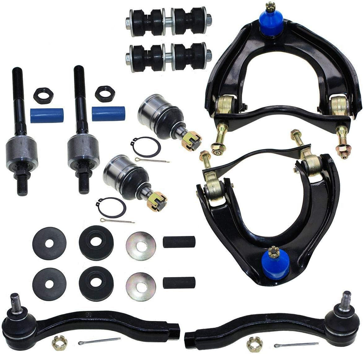 DLZ 12 Pcs Front Suspension Kit-Upper Control Arm Assembly Lower Ball Joint Inner Outer Tie Rod End Sway Bar Shock Bushing Compatible with Honda Civic CRX 1988 1989 1990 1991 K9385 ES2946L EV217