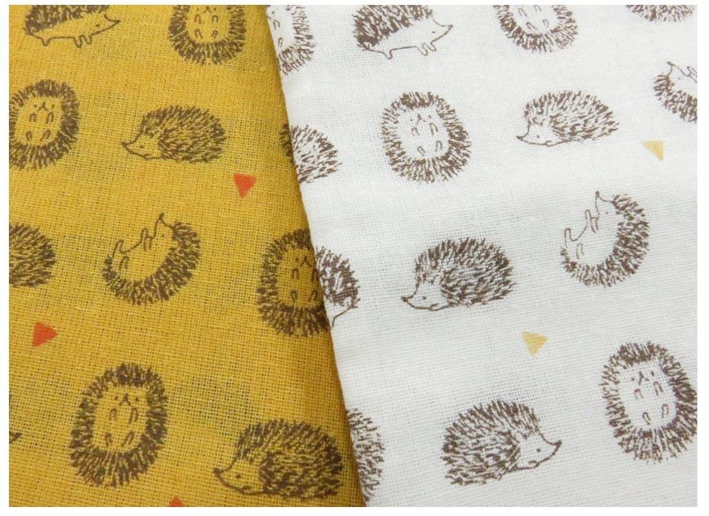 Tenugui Hedgehog Cotton Hand Dish Towel 34 x 13.75 White Gold (Set of 2)