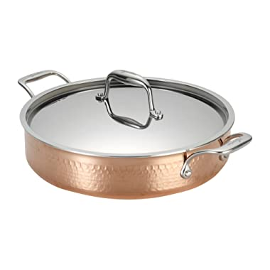 Lagostina Q5544764 Martellata Tri-ply Hammered Stainless Steel Copper Dishwasher Safe Oven Safe Stockpot / Casserolle Cookware, 5-Quart, Copper