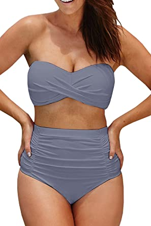 e7dc44d5717 Amazon.com  Coutgo Womens Plus Size High Waisted Swimsuit Two Pieces  Strapless Bikini Bathing Suit  Clothing