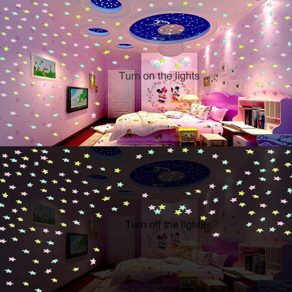 Orapink 100 Pieces of Colorful Glowing Stars Glowing in The Dark Fluorescent Luminous Plastic Wall Stickers Home Decoration Decals Ceiling Wall Decoration Kids Baby Bedroom Room Decoration