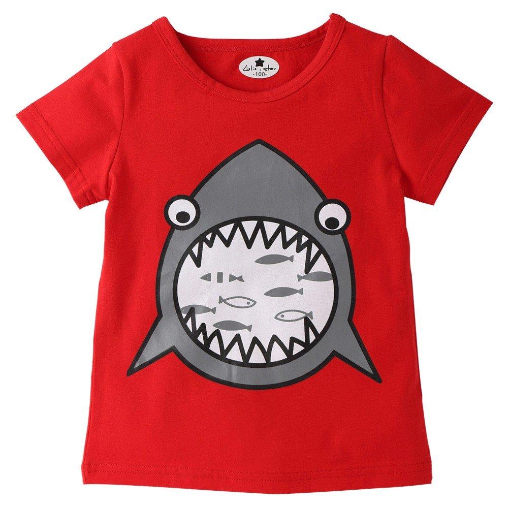 18M-6T,Yamally Baby Girls Outfit Newborn Boy Fish Shark Tee Tops Cartoon T Shirt Hot Sale Yamally_9R