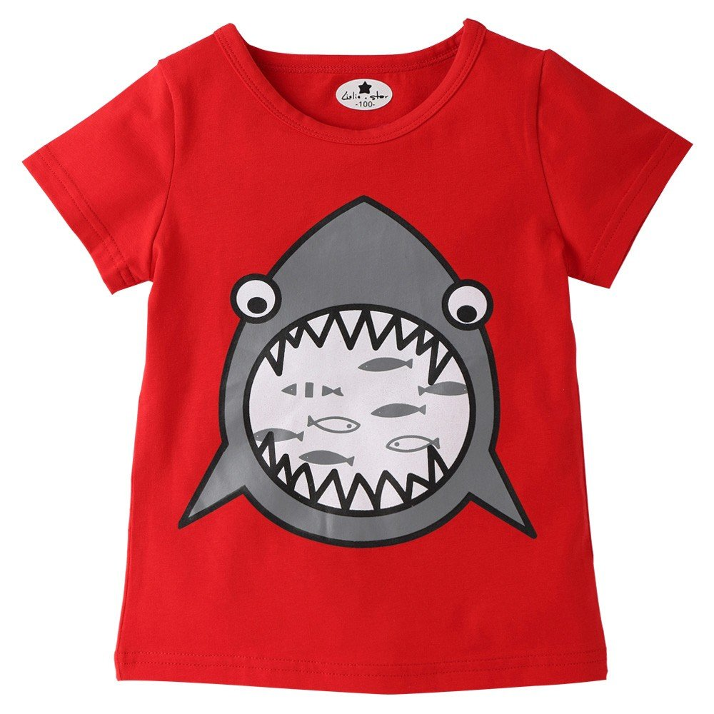 Infant Kid Shark Cartoon Print T-Shirt - Tops Boy Girl SummerChildren Shirts Tee,2019 New