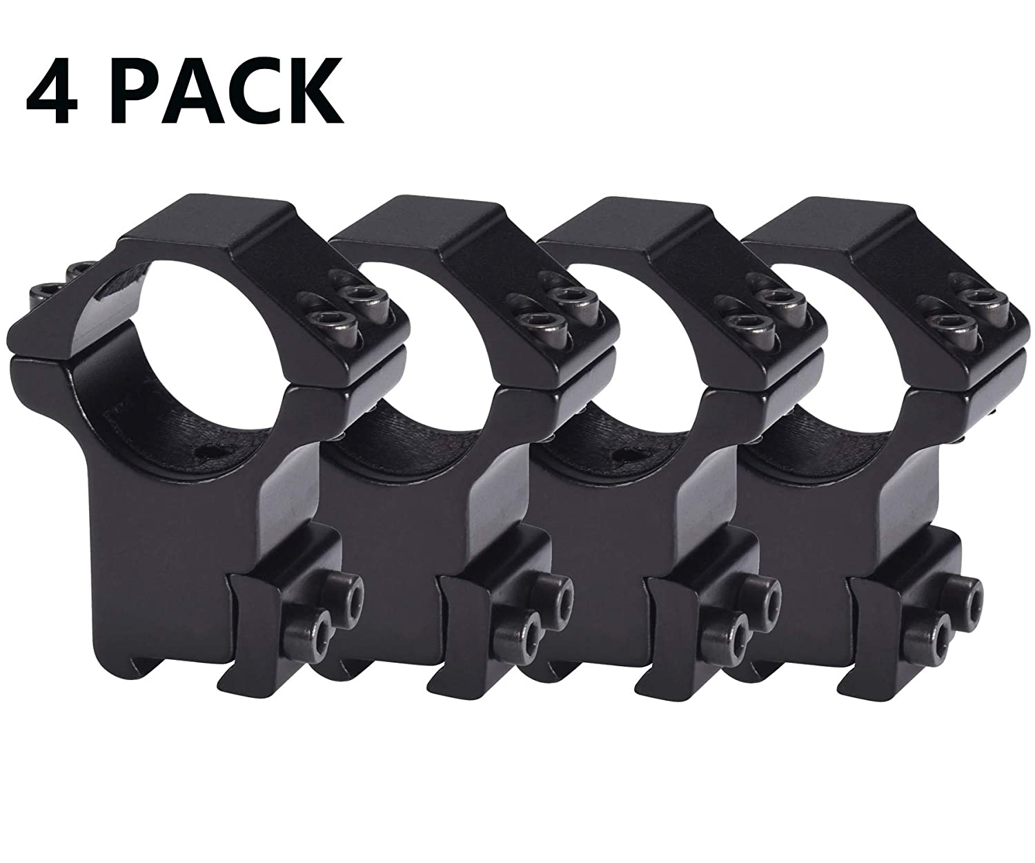 "Tenako 4 Pack 1"" Dovetail Scope Ring Mount High Profile for 11mm Dovetail Rails"