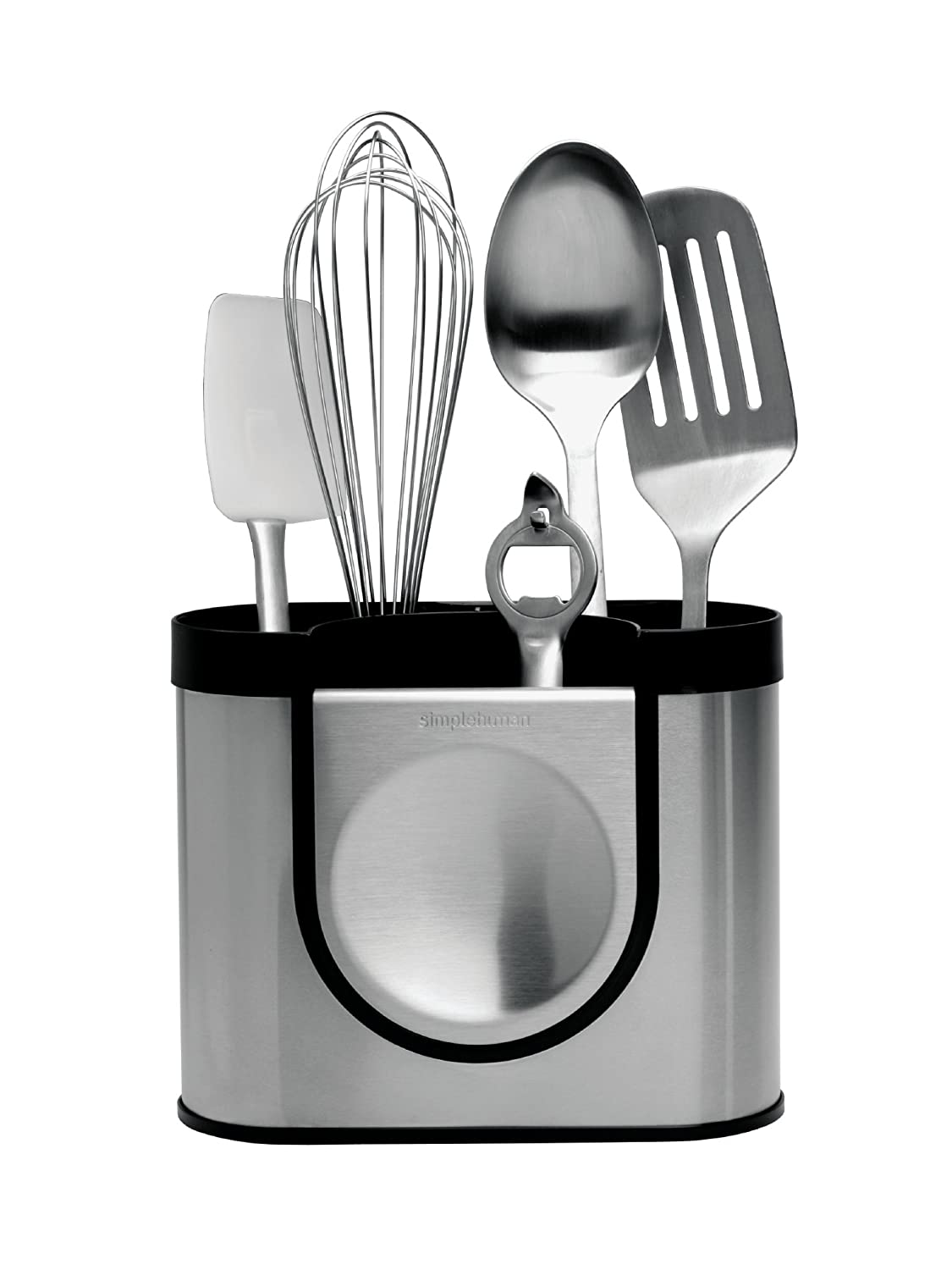 simplehuman Utensil Holder with Removable Spoon Rest - Brushed Steel ...