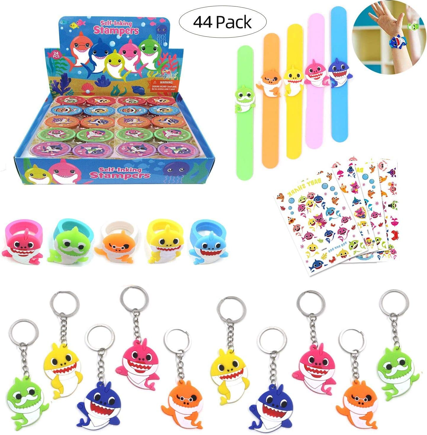SUMMERDAYS-Shark Family Theme Party Favors for Kids -110Pcs Tatoo-20Pcs Stamper-20Pcs Rings Necklace Keychain Birthday Party Supplies