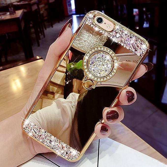 Kompatibel mit iPhone SE Hülle,iPhone 5S Hülle,iPhone 5 Hülle,[Ring Ständer] Glänzend Glitzer Strass Diamant Überzug Spiegel