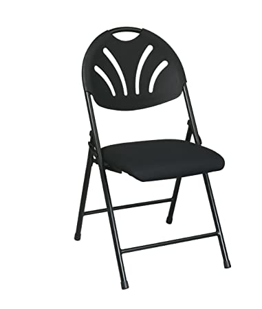 Folding Fan Back Chair With Black Plastic Back And Black Mesh Seat 4 Pack #  FC8100NP