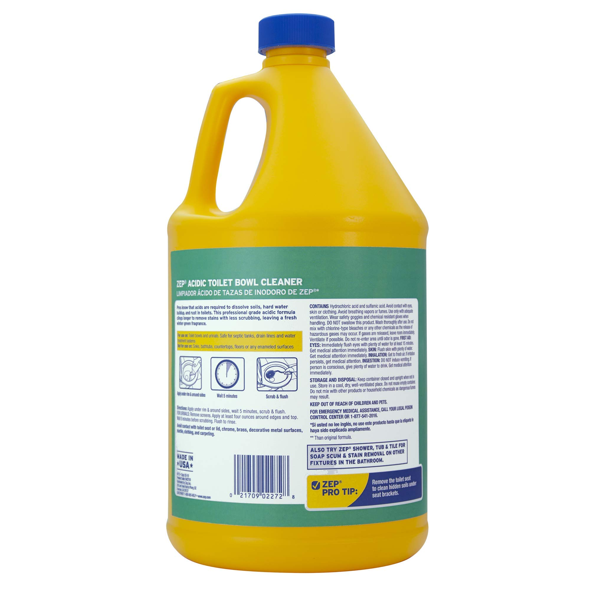 Zep Acidic Toilet Bowl Cleaner 128oz R43710 (Case of 4) - Professional Strength, Thick Gel Clings to dirt and leaves toilets clean by Zep