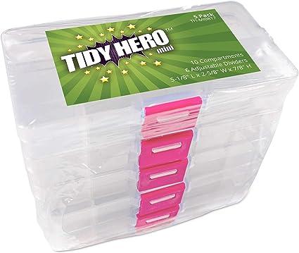 Pequeña caja de almacenamiento de plástico con 10 compartimentos y ...
