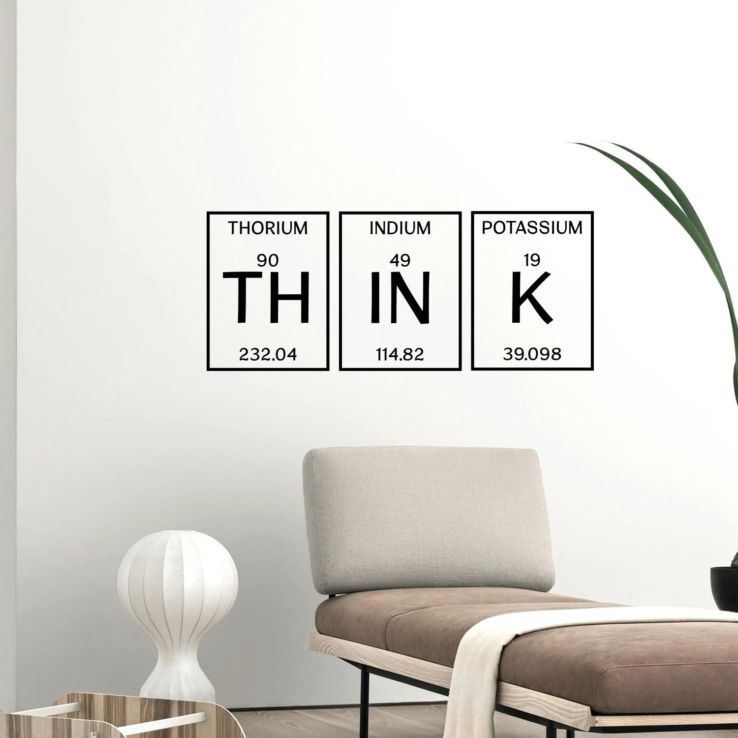 "Wall Art Vinyl Decal - 'Think' Word Lettering - 13"" x 32"" Inspirational Wall Art Decor - Scientfic Educational Sticker Decals Periodic Table of Elements Living Room Bedroom Wall Decor"
