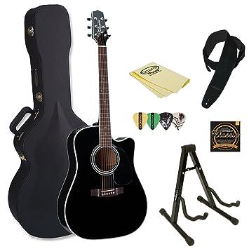 TAKAMINE ef341sc-kit-2 Pro Series Dreadnought acústica guitarra eléctrica Negro con funda y accesorios: Amazon.es: Instrumentos musicales
