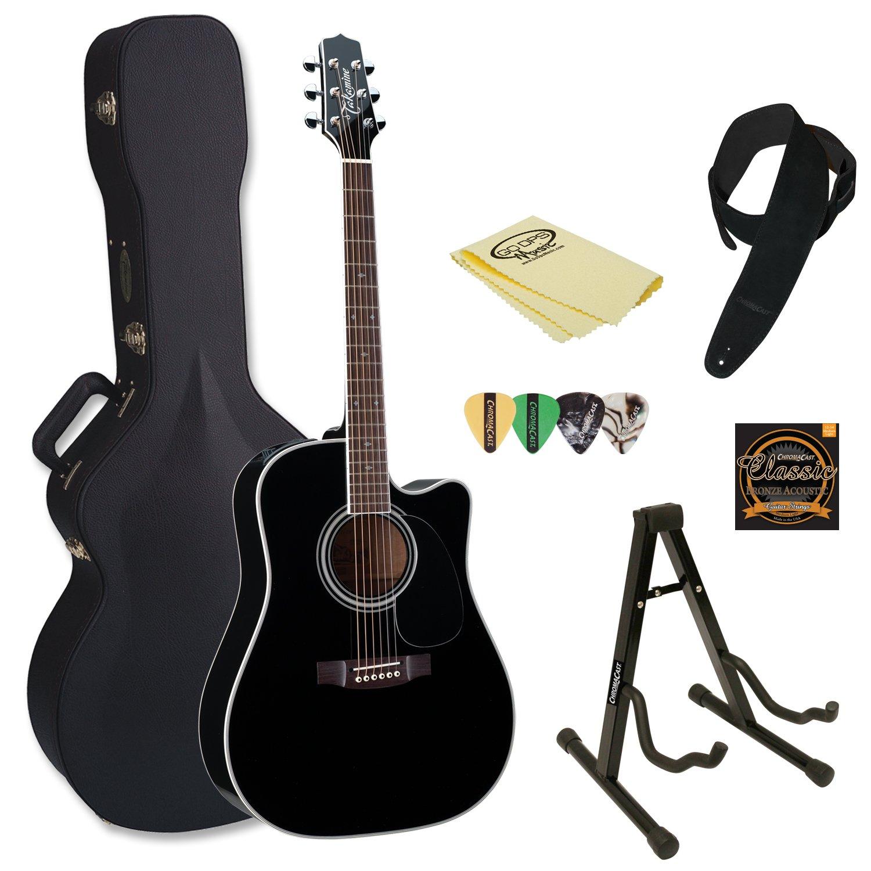 takamine ef341sc kit 2 pro series dreadnought acoustic electric guitar black with hard case. Black Bedroom Furniture Sets. Home Design Ideas