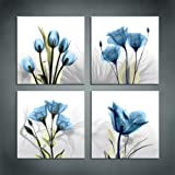 Amazon Price History for:Moyedecor Art - 4 Panel Elegant Tulip Flower Canvas Print Wall Art Painting For Living Room Decor And Modern Home Decorations (Four 12X12in, Blue flower prints framed)