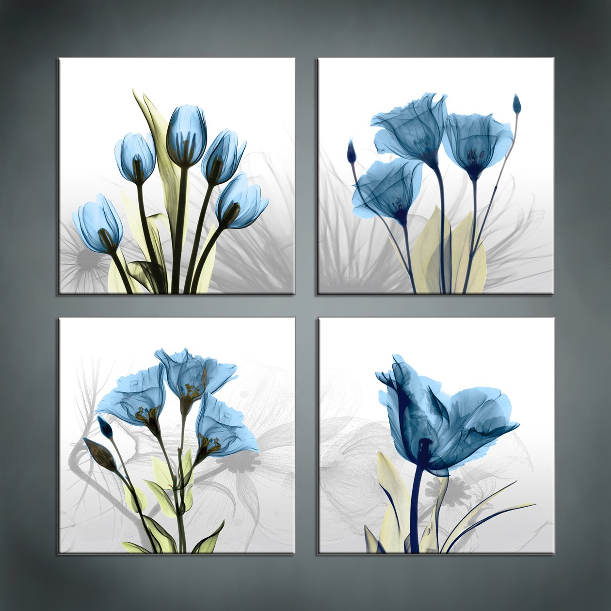 Moyedecor Art - 4 Panel Elegant Tulip Flower Canvas Print Wall Art Painting For Living Room Decor And Modern Home Decorations (Four 12X12in, Blue flower prints framed) by Moyedecor Art