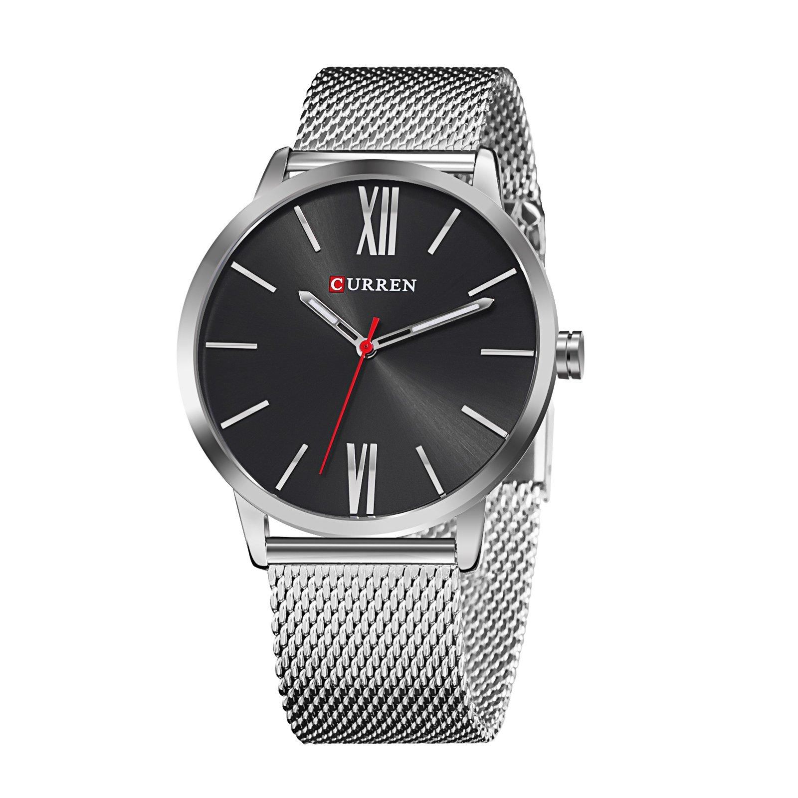 TREEWETO Men's Slim Mesh Wrist Watch Roman Numerals Silver Band Black Dial Bisiness Dress Black Watch