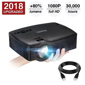 Proyector de vídeo mejorado 2018 (+ 80 % lúmenes) 1080P soportado ...