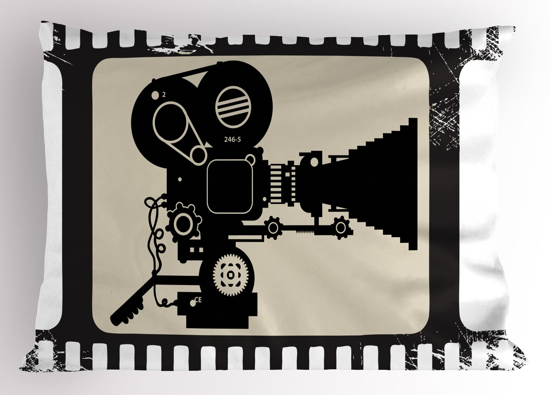 Ambesonne Movie Theater Pillow Sham, Movie Frame Pattern with Silhouette of Movie Reels in a Projector, Decorative Standard Queen Size Printed Pillowcase, 30 X 20 Inches, Dark Taupe Beige Black