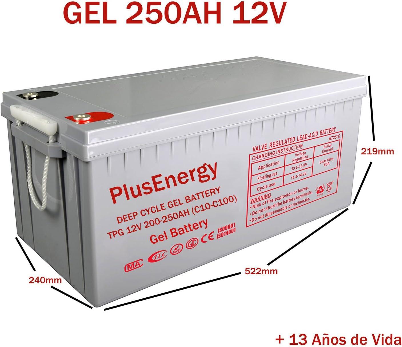 wccsolar.es Bateria Solar AGM Y Gel 12V PlusEnergy 150AH 250AH para instalación Solar Ciclo Profundo (250AH 12V Gel)