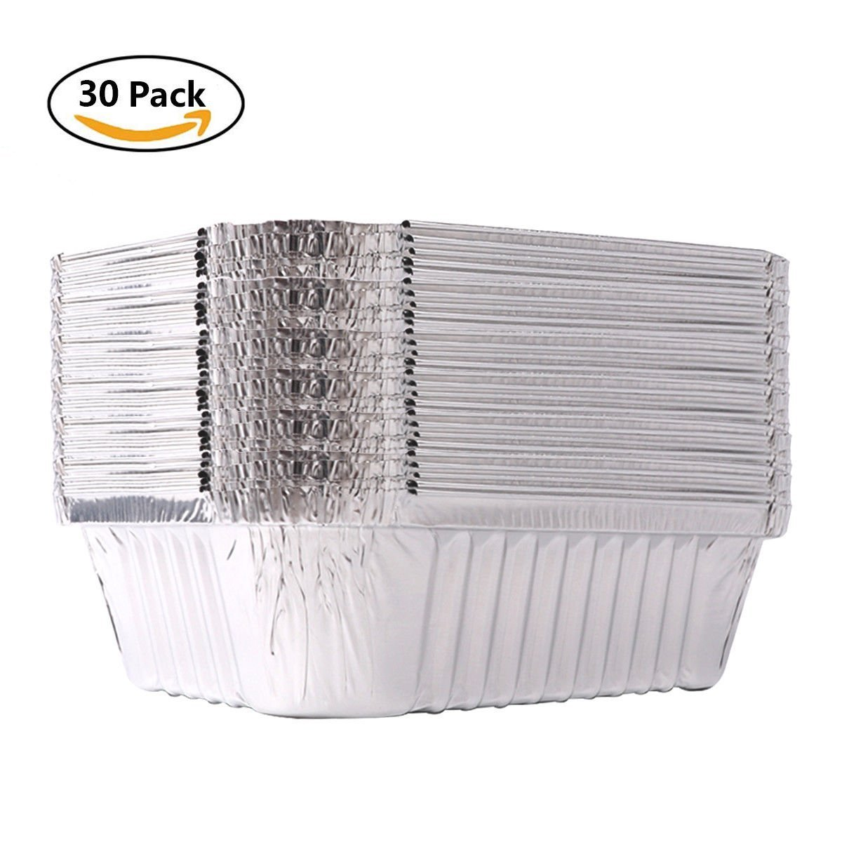 Paradox (30 Pack) Disposable Aluminum Foil Pans,BBQ Party Food Containers Take-Out Containers with Lids for Baking, Roasting, Broiling, Cooking, 7.3'' X 5.5'' X 2.0''(750ml)