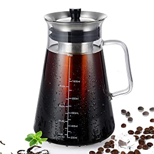 Airtight Cold Brew Iced Coffee Maker (40oz) Thick Borosilicate Glass Carafe with BPA-Free Ultra Fine Double Mesh Removable Filter Dishwasher Safe Rustproof ,5 Cups Capacity