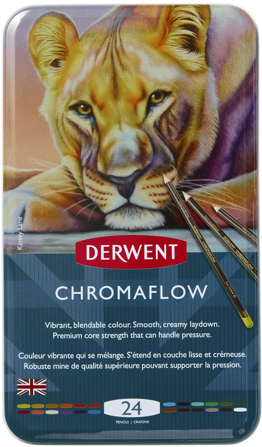 Derwent Chromaflow Colored Pencils | Art Supplies for Drawing, Sketching, Adult Coloring | Premier, Strong Soft Core Multicolor Color Pencils, Blending | Professional Quality | 24 Pack