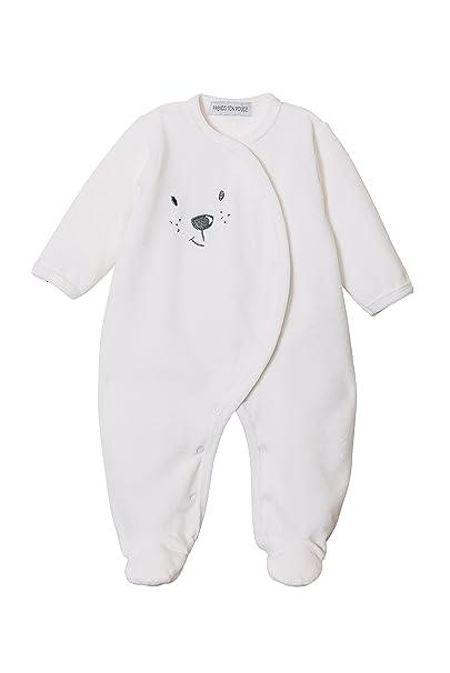 Pelele terciopelo para bebe - Blanco - De Prematuro a 12 Meses (00 Prematuro)